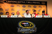 Ryan Blaney Edsel B Ford II Dave Pericak Len Wood and Eddie Wood attend a news conference at HomesteadMiami Speedway on November 20 2015 in Homestead...