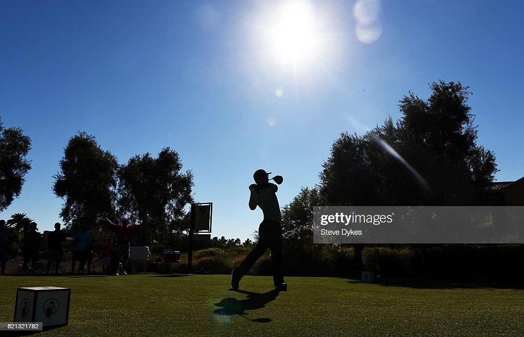 Ryan Blaum of the United States plays his shot from the ninth tee during the third round of the Shriners Hospitals For Children Open on November 5, 2016 in Las Vegas, Nevada.