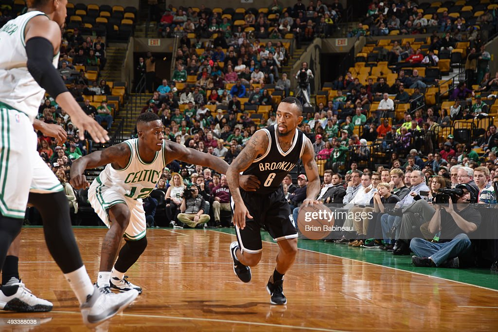 <a gi-track='captionPersonalityLinkClicked' href=/galleries/search?phrase=Ryan+Boatright&family=editorial&specificpeople=8698049 ng-click='$event.stopPropagation()'>Ryan Boatright</a> #6 of the Brooklyn Nets drives to the basket against <a gi-track='captionPersonalityLinkClicked' href=/galleries/search?phrase=Terry+Rozier&family=editorial&specificpeople=11540564 ng-click='$event.stopPropagation()'>Terry Rozier</a> #12 of the Boston Celtics during the preseason game on October 19, 2015 at TD Garden in Boston, Massachusetts.