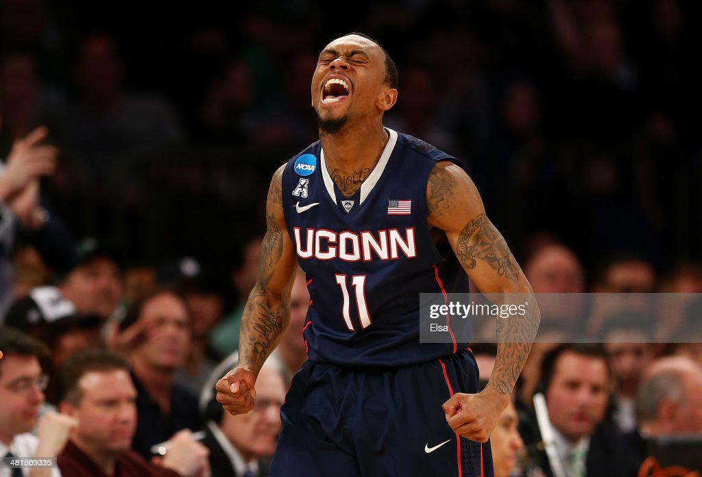 Ryan Boatright of the Connecticut Huskies reacts after a turnover by the Michigan State Spartans in the second half of the East Regional Final of the...