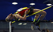 Ryan Bonifas of Basingstoke in action during the Mens High Jump Final during day two of the Indoor British Championships at English Institute of...
