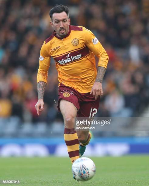 Ryan Bowman of Motherwell runs with the ball during the Betfred League Cup Semi Final between Rangers and Motherwell at Hampden Park on October 22...