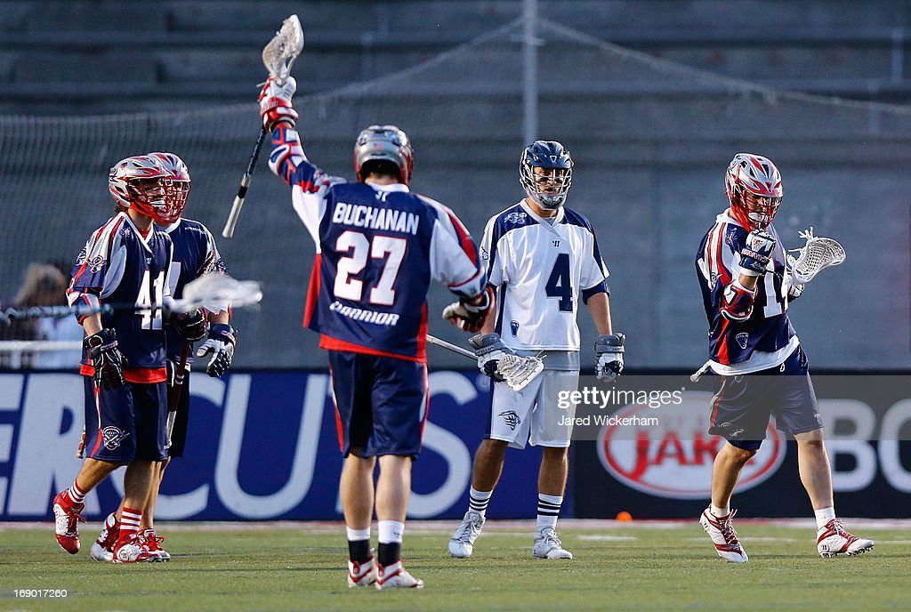 Ryan Boyle #14 of the Boston Cannons celebrates following a goal late in the first half against the Chesapeake Baykawks during the game on May 18, 2013 at Harvard Stadium in Boston, Massachusetts.