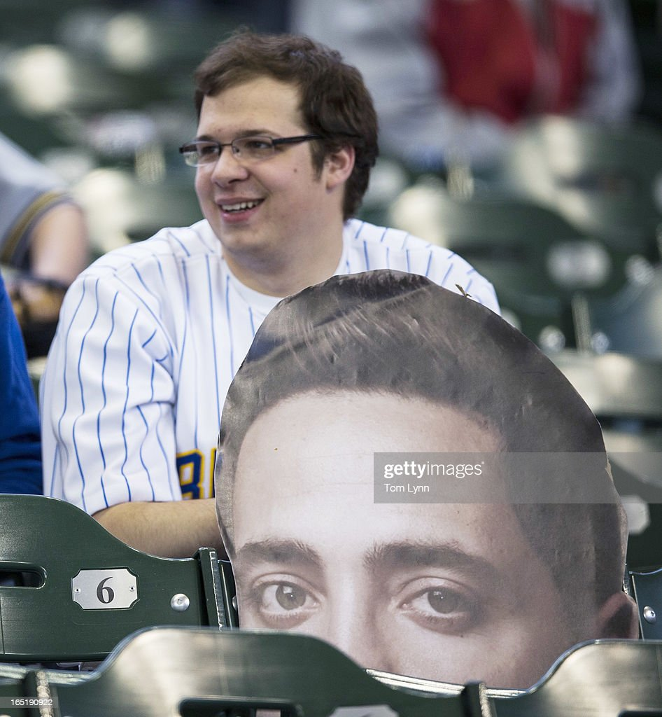 A Ryan Braun Fathead sits in the stands before the start of the game between the Milwaukee Brewers and Colorado Rockies on opening day at Miller Park on April 1, 2013 in Milwaukee, Wisconsin.