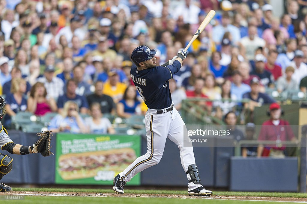 Ryan Braun #8 of the Milwaukee Brewers bats against the Pittsburg Pirates at Miller Park on August 23, 2014 in Milwaukee, Wisconsin.