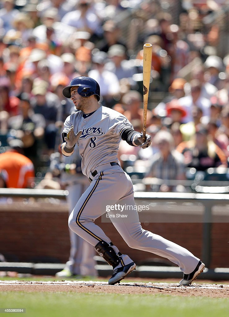 Ryan Braun #8 of the Milwaukee Brewers bats against the San Francisco Giants at AT&T Park on August 31, 2014 in San Francisco, California.