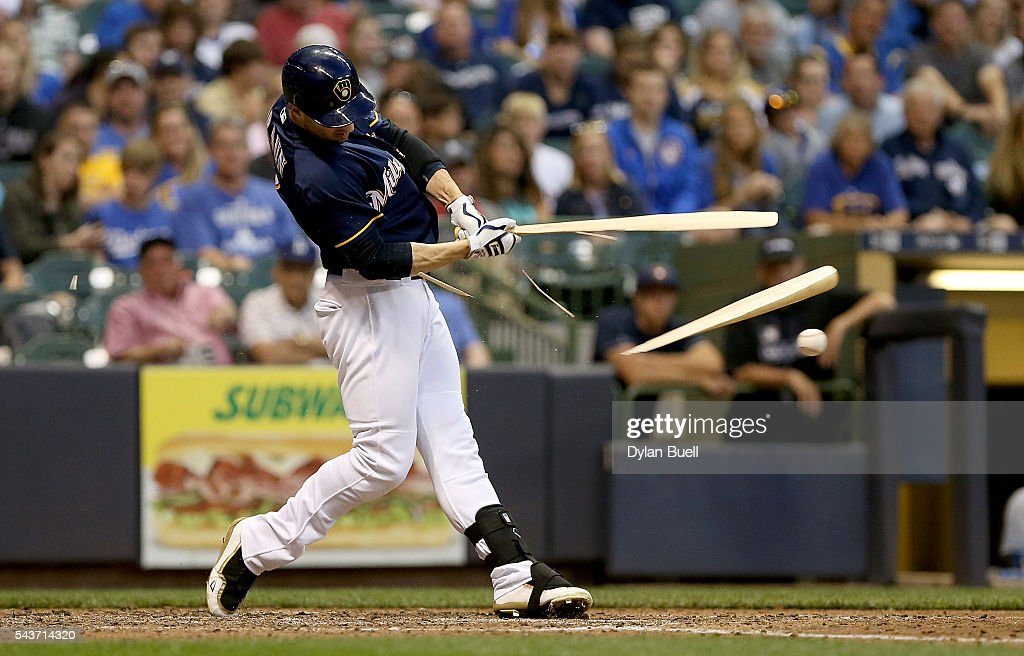 Ryan Braun of the Milwaukee Brewers breaks his bat in the fifth inning against the Los Angeles Dodgers at Miller Park on June 29 2016 in Milwaukee...