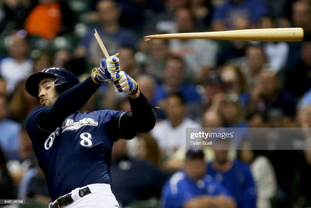 Ryan Braun #8 of the Milwaukee Brewers breaks his bat on a foul ball in the fifth inning against the Pittsburgh Pirates at Miller Park on September 12, 2017 in Milwaukee, Wisconsin.