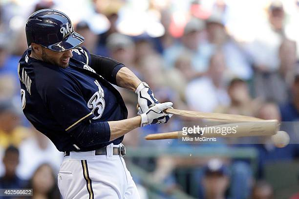 Ryan Braun of the Milwaukee Brewers breaks his bat on this pitch from Mike Leake of the Cincinnati Reds during the bottom of the third inning at...
