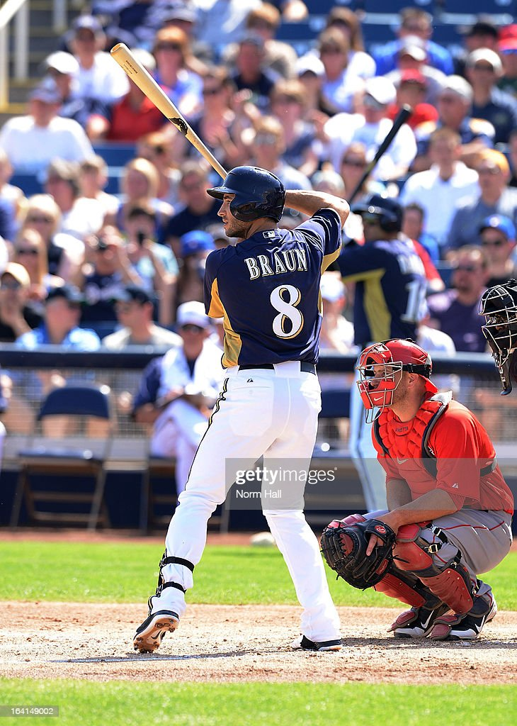 Ryan Braun #8 of the Milwaukee Brewers gets ready in the batters box against the Los Angeles Angels at Maryvale Baseball Park on March 19, 2013 in Maryvale, Arizona.