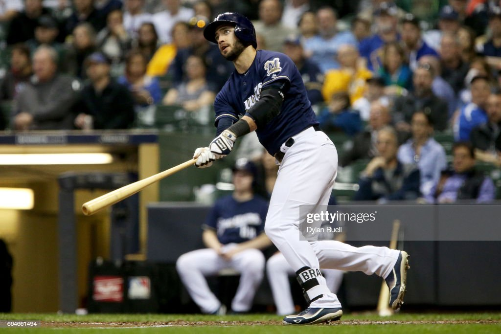 Ryan Braun #8 of the Milwaukee Brewers hits a home run in the fourth inning against the Colorado Rockies at Miller Park on April 4, 2017 in Milwaukee, Wisconsin.