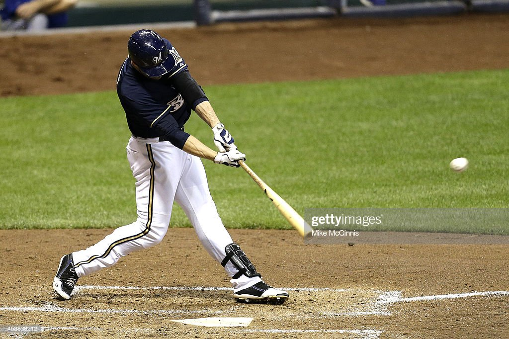 Ryan Braun #8 of the Milwaukee Brewers hits a RBI double in the bottom of the third inning against the Toronto Blue Jays during the Interleague game at Miller Park on August 19, 2014 in Milwaukee, Wisconsin.