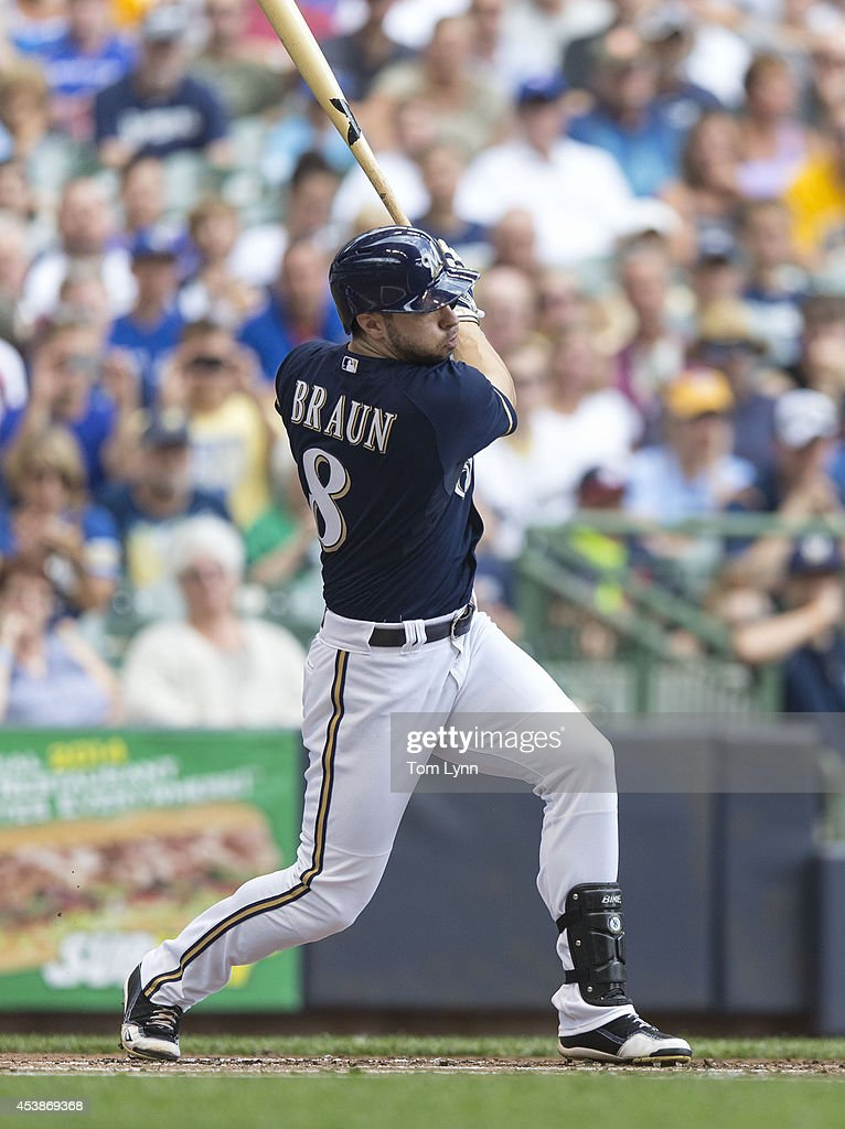 Ryan Braun #8 of the Milwaukee Brewers hits a single against the Toronto Blue Jays at Miller Park on August 20,, 2014 in Milwaukee, Wisconsin.