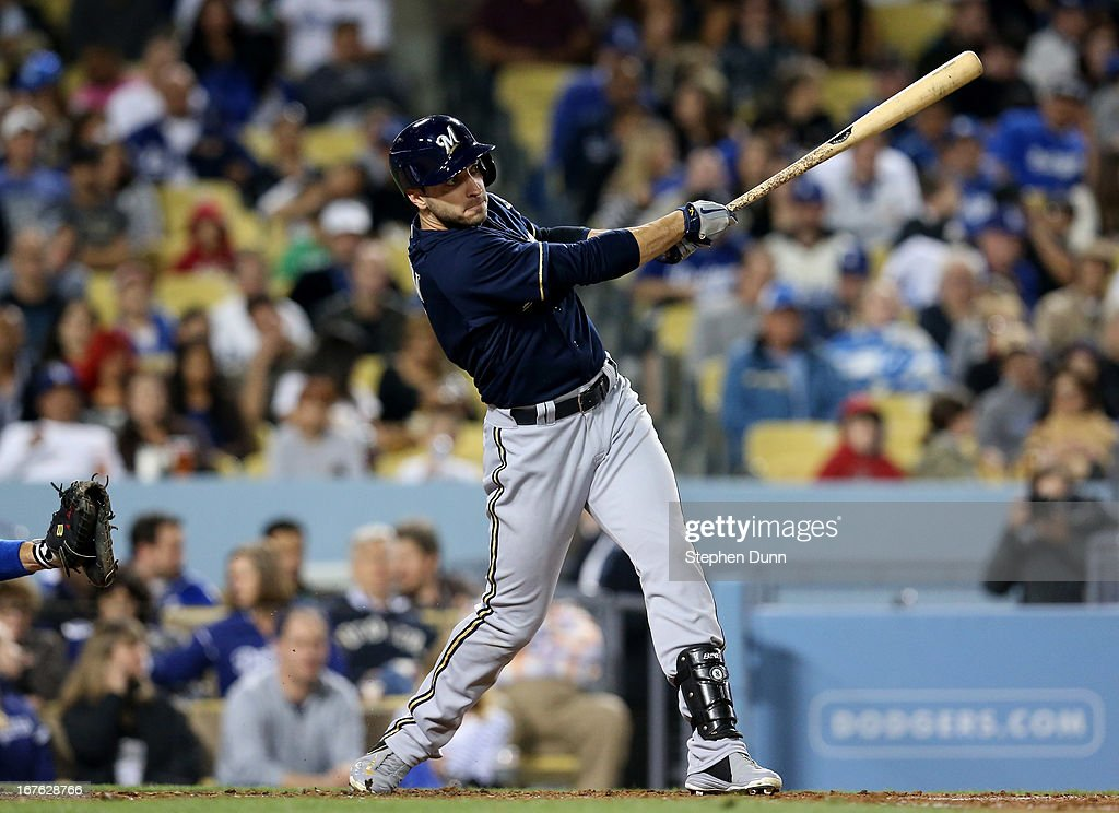 Ryan Braun of the Milwaukee Brewers hits a solo home run in the fourth inning against the Los Angeles Dodgers at Dodger Stadium on April 26 2013 in...