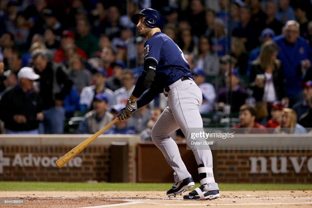 Ryan Braun #8 of the Milwaukee Brewers hits his 300th career home run in the first inning against the Chicago Cubs at Wrigley Field on September 8, 2017 in Chicago, Illinois.