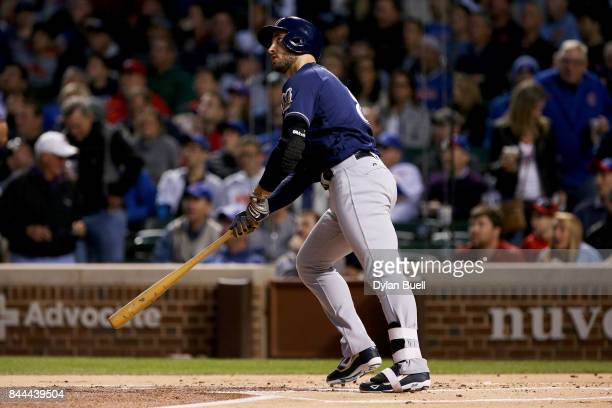 Ryan Braun of the Milwaukee Brewers hits his 300th career home run in the first inning against the Chicago Cubs at Wrigley Field on September 8 2017...
