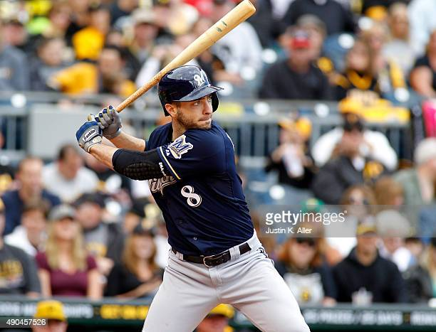 Ryan Braun of the Milwaukee Brewers in action during the game against the Pittsburgh Pirates at PNC Park on September 13 2015 in Pittsburgh...