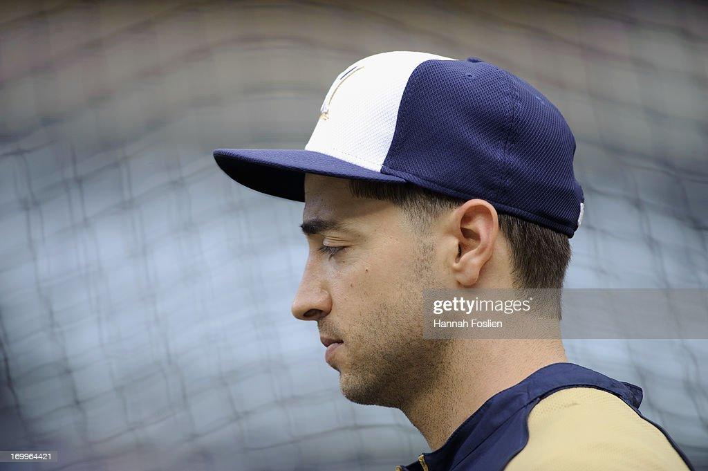 Ryan Braun #8 of the Milwaukee Brewers looks on during batting practice before the game against the Minnesota Twins on May 30, 2013 at Target Field in Minneapolis, Minnesota.