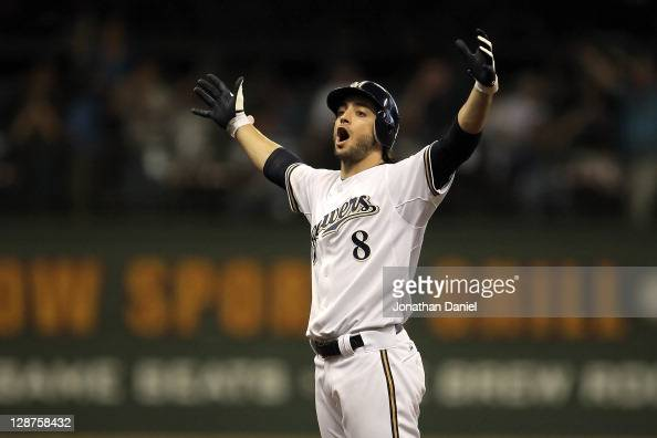 Ryan Braun of the Milwaukee Brewers reacts after hitting a double in the sixth inning off pitcher Ian Kennedy of the Arizona Diamondbacks in Game...