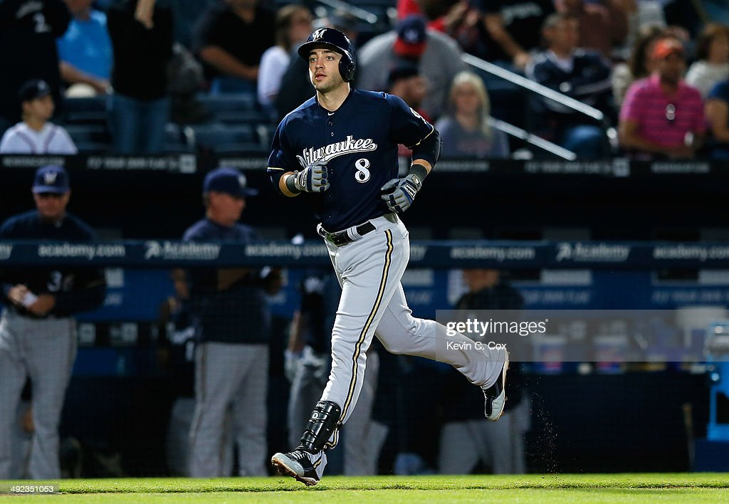Ryan Braun #8 of the Milwaukee Brewers reacts after hitting a solo homer in the eighth inning against the Atlanta Braves at Turner Field on May 19, 2014 in Atlanta, Georgia.
