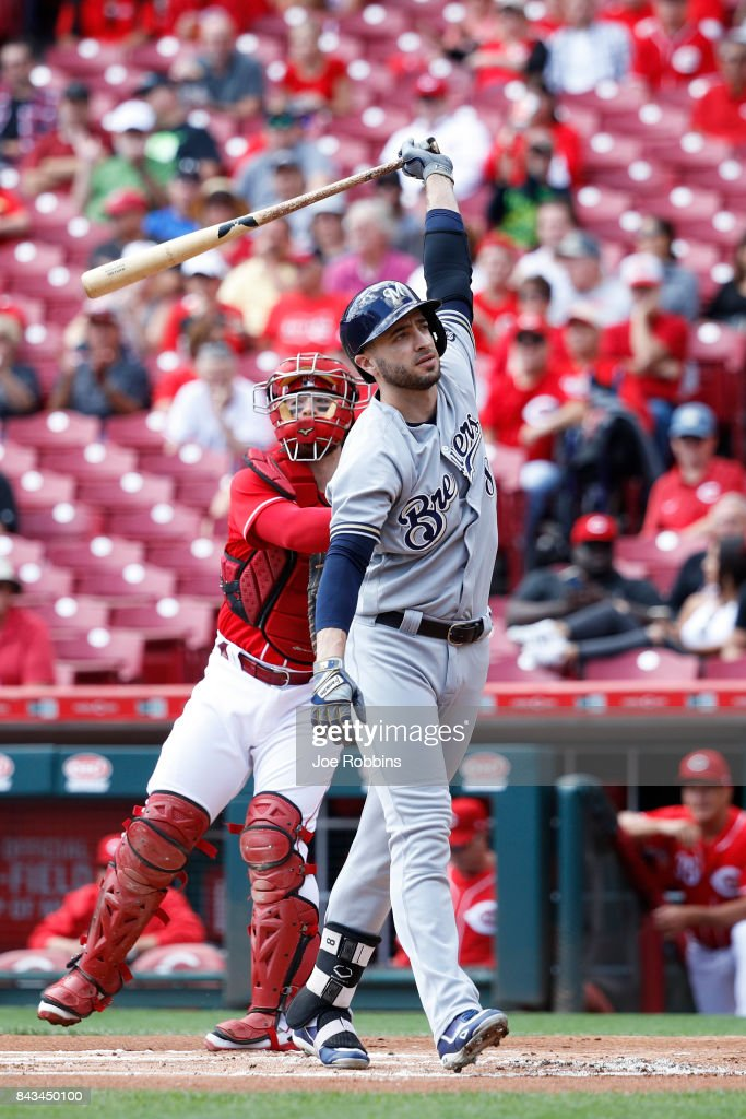 Ryan Braun #8 of the Milwaukee Brewers reacts after striking out in the first inning of a game against the Cincinnati Reds at Great American Ball Park on September 6, 2017 in Cincinnati, Ohio. The Reds defeated the Brewers 7-1.