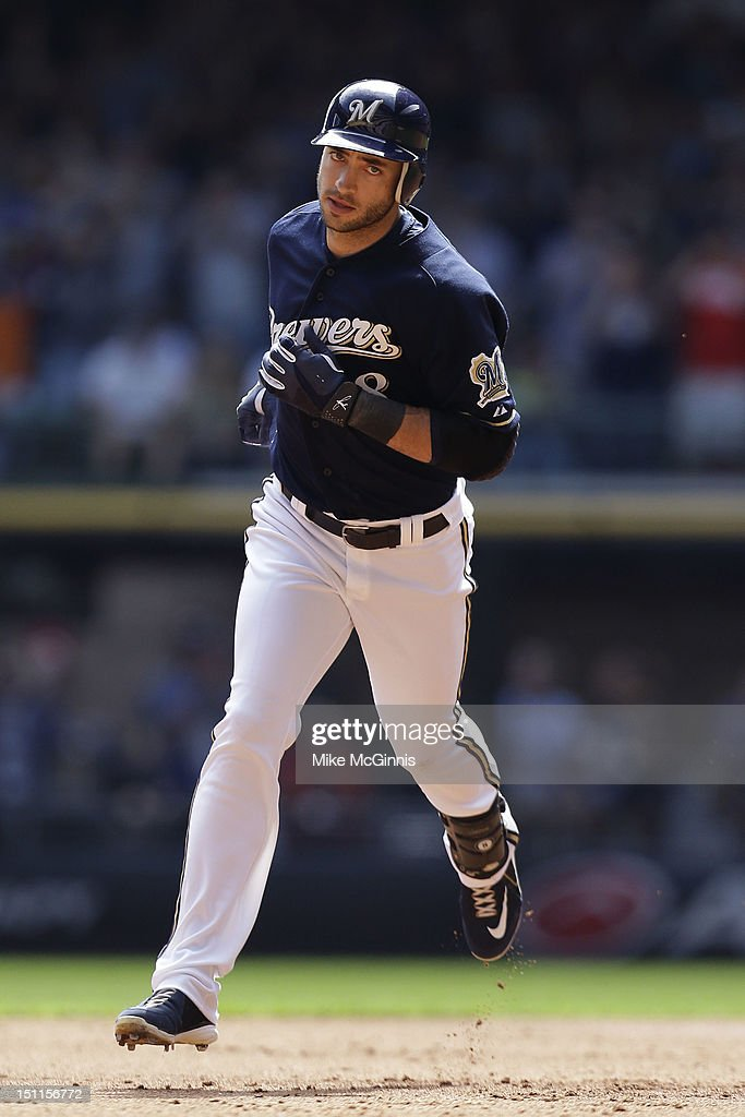 Ryan Braun #8 of the Milwaukee Brewers rounds the bases after hitting a three run homer in the bottom of the first inning against the Pittsburgh Pirates at Miller Park on September 02, 2012 in Milwaukee, Wisconsin.