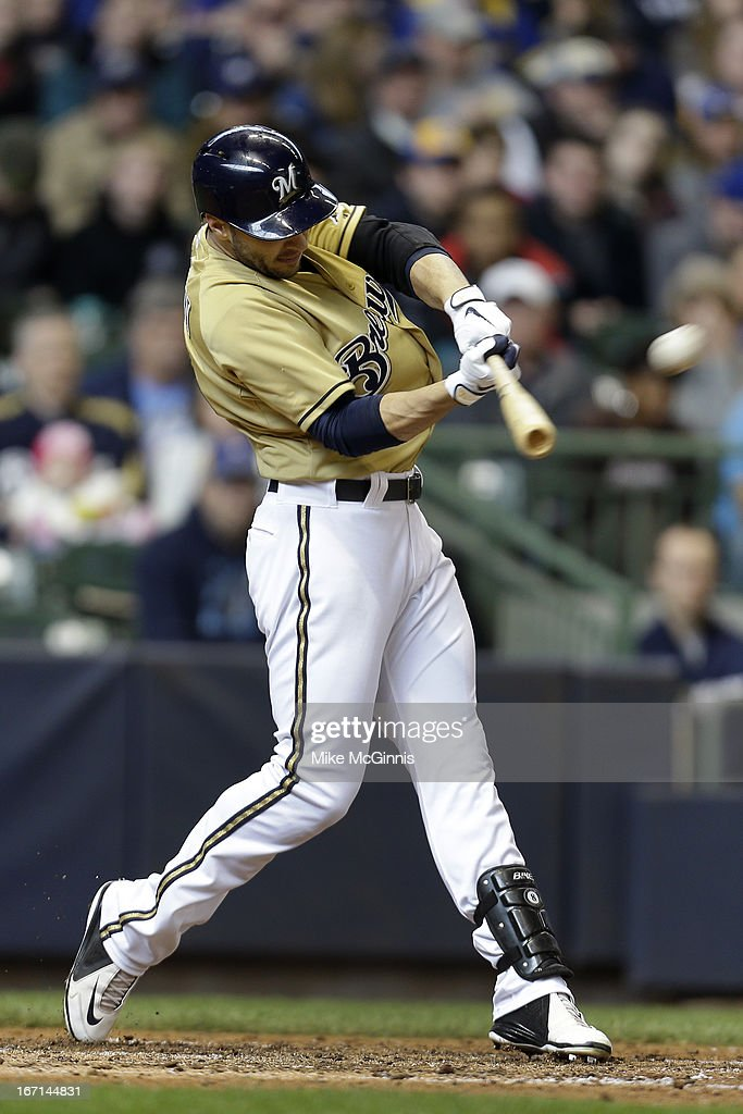 Ryan Braun #8 of the Milwaukee Brewers sends this pitch over the wall for a three run homer in the bottom of the fifth inning scoring Jean Segura and Yuniesky Betancourt against the Chicago Cubs at Miller Park on April 21, 2013 in Milwaukee, Wisconsin.
