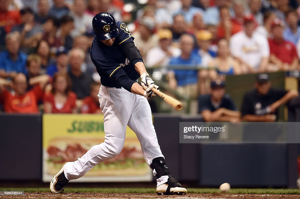 Ryan Braun of the Milwaukee Brewers swings at a pitch during the sixth inning of a game against the St Louis Cardinals at Miller Park on August 30...