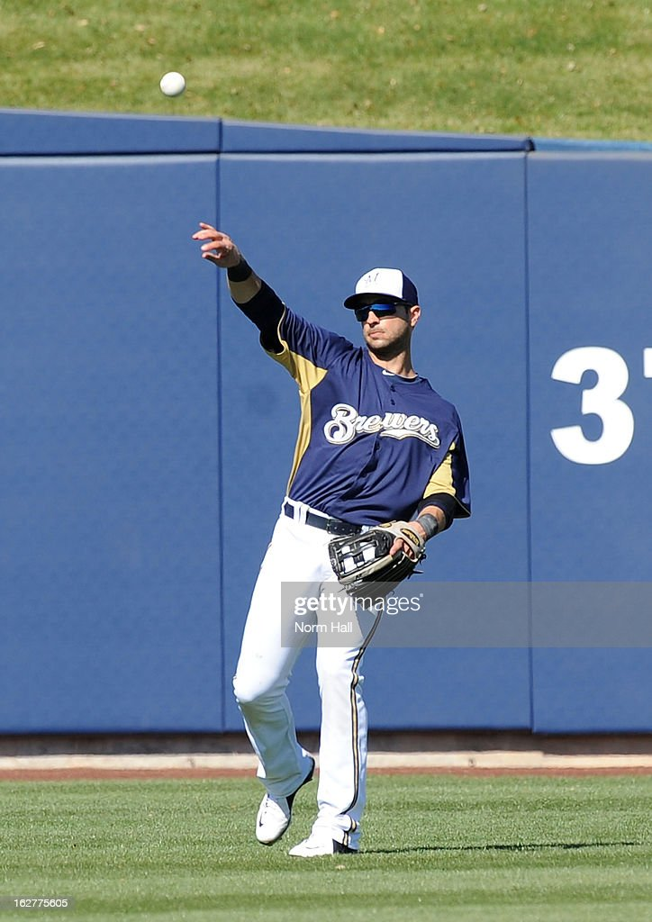 Ryan Braun #8 of the Milwaukee Brewers throws the ball to the infield against the Seattle Mariners at Maryvale Baseball Park on February 26, 2013 in Maryvale, Arizona.