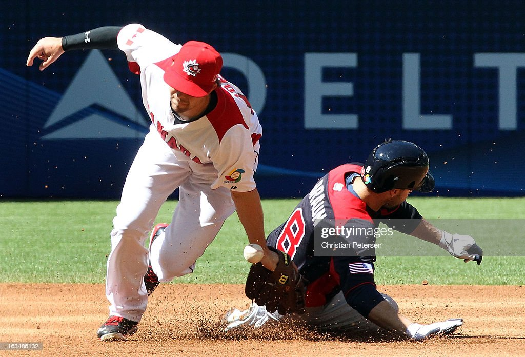 Ryan Braun #8 of USA safely steals second base past infielder Cale Iorg #16 of Canada during the first inning of the World Baseball Classic First Round Group D game at Chase Field on March 10, 2013 in Phoenix, Arizona. USA defeated Canada 9-4.