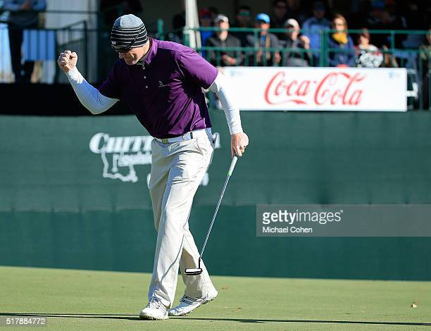 Ryan Brehm celebrates his birdie putt on the 18th green during the final round of the Chitimacha Louisiana Open presented by NACHER held at Le...