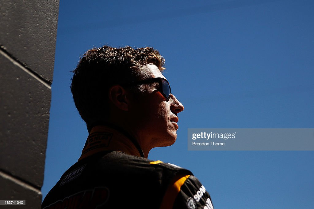 Ryan Briscoe driver of the #66 Supercheap Auto Racing Holden watches from the pitlane during practice for the Bathurst 1000, which is round 11 of the V8 Supercars Championship Series at Mount Panorama on October 10, 2013 in Bathurst, Australia.