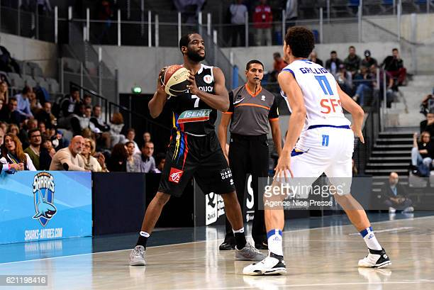 Ryan Brooks of Dijon and Charles Galliou of Antibes during the Pro A match between Antibes sharks and JDA Dijon on November 4 2016 in Antibes France