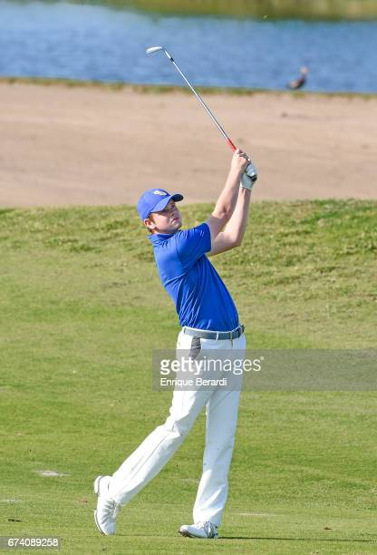 Ryan Burgess of the United States hits from the 18th fairway during the second round of the PGA TOUR Latinoamérica Honduras Open presented by Indura...