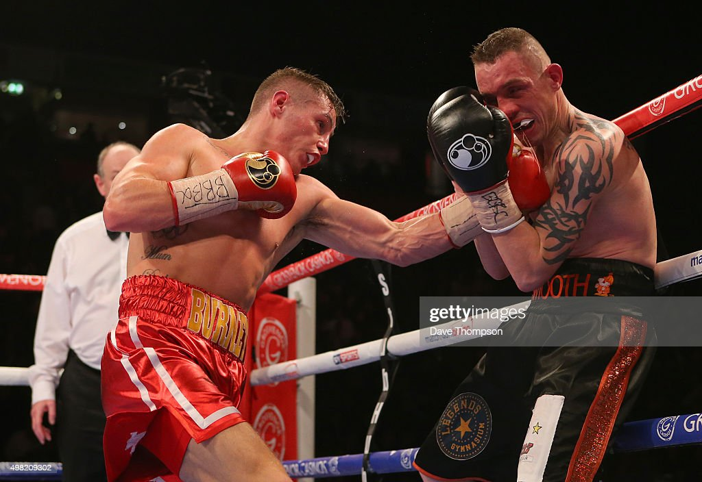 Ryan Burnett and Jason Booth during their British Bantamweight bout at the Manchester Arena on November 21 2015 in Manchester England