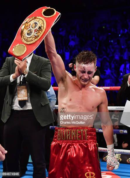 Ryan Burnett celebrates after defeating Lee Haskins during the IBF Bantamweight World Championship bout at the SSE Arena Belfast on June 10 2017 in...