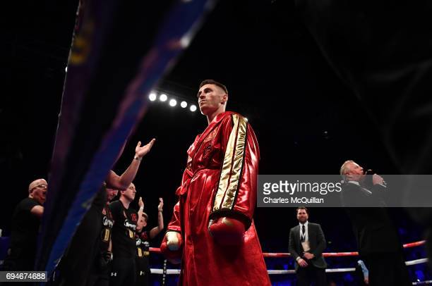 Ryan Burnett enters the ring before his contest with Lee Haskins for the IBF Bantamweight World Championship bout at the SSE Arena Belfast on June 10...