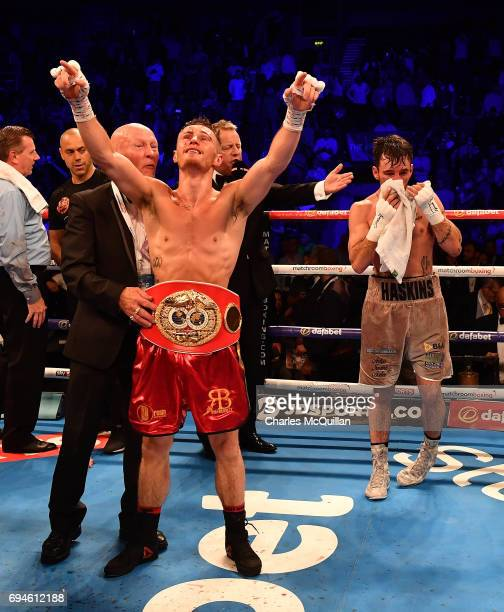 Ryan Burnett of Northern Ireland celebrates after defeating Lee Haskins of England during the IBF Bantamweight World Championship bout at the SSE...