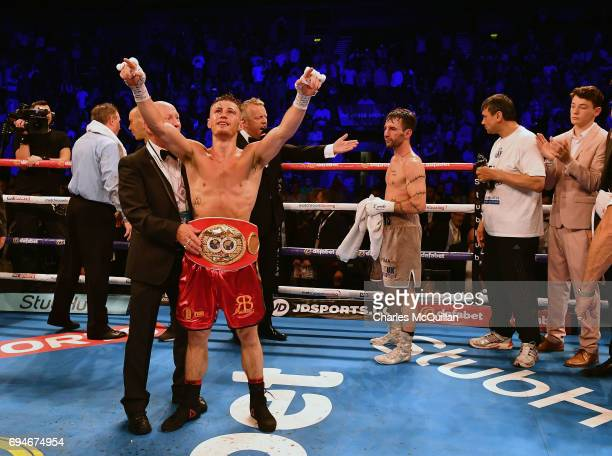 Ryan Burnett of Northern Ireland is declared the winner after his contest with Lee Haskins of England for the IBF Bantamweight World Championship...