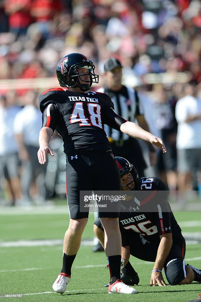 Ryan Bustin #48 of the Texas Tech Red Raiders watches an extra point during game action on October 12, 2013 at AT&T Jones Stadium in Lubbock, Texas. Texas Tech won the game over Iowa State 42-35.
