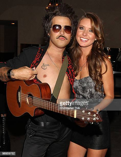 Ryan Cabrera poses with Audrina Patridge after serenading her for her 25th birthday at Las Palmas Latin Supper Club on May 9 2010 in Hollywood...
