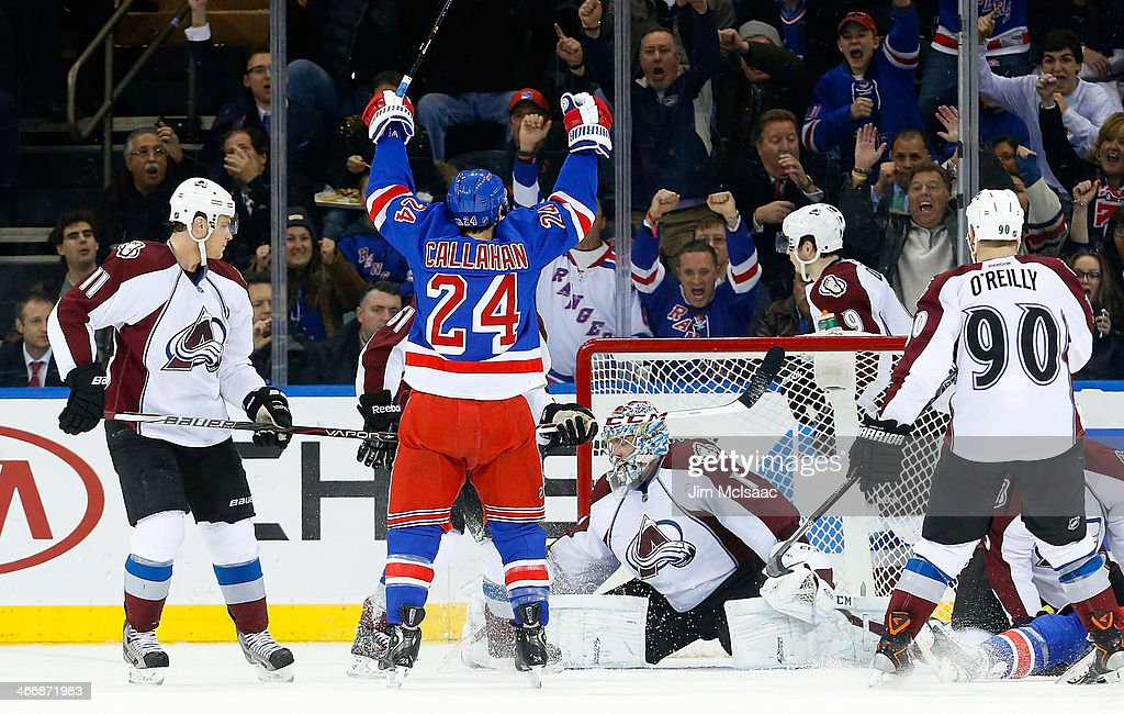 <a gi-track='captionPersonalityLinkClicked' href=/galleries/search?phrase=Ryan+Callahan&family=editorial&specificpeople=809690 ng-click='$event.stopPropagation()'>Ryan Callahan</a> #24 of the New York Rangers celebrates his second-goal of the first period against <a gi-track='captionPersonalityLinkClicked' href=/galleries/search?phrase=Semyon+Varlamov&family=editorial&specificpeople=6264893 ng-click='$event.stopPropagation()'>Semyon Varlamov</a> #1 of the Colorado Avalanche at Madison Square Garden on February 4, 2014 in New York City.