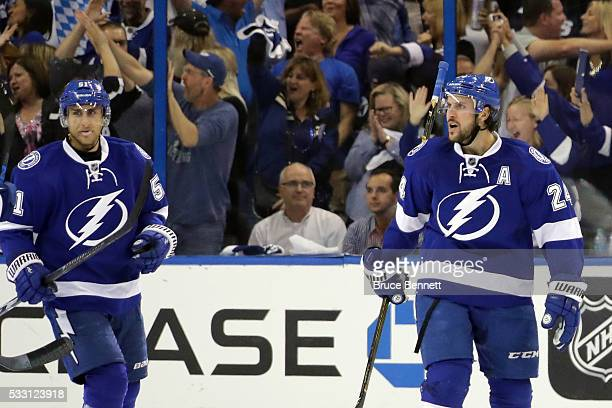 Ryan Callahan of the Tampa Bay Lightning celebrates a goal against Matt Murray of the Pittsburgh Penguins during the first period in Game Four of the...