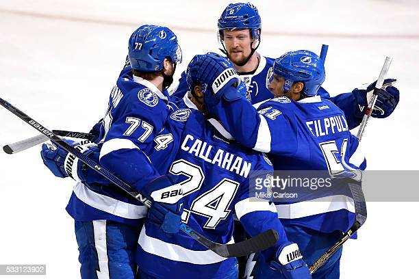 Ryan Callahan of the Tampa Bay Lightning celebrates a goal with his teammates against Matt Murray of the Pittsburgh Penguins during the first period...