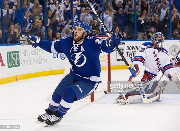 Ryan Callahan of the Tampa Bay Lightning celebrates his goal against goalie Henrik Lundqvist of the New York Rangers during the first period in Game...