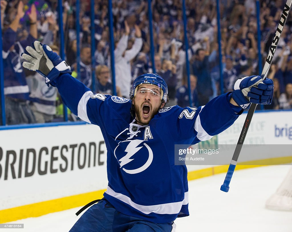 <a gi-track='captionPersonalityLinkClicked' href=/galleries/search?phrase=Ryan+Callahan&family=editorial&specificpeople=809690 ng-click='$event.stopPropagation()'>Ryan Callahan</a> #24 of the Tampa Bay Lightning celebrates his goal against the New York Rangers during the first period in Game Six of the Eastern Conference Final during the 2015 NHL Stanley Cup Playoffs at the Amalie Arena on May 26, 2015 in Tampa, Florida.