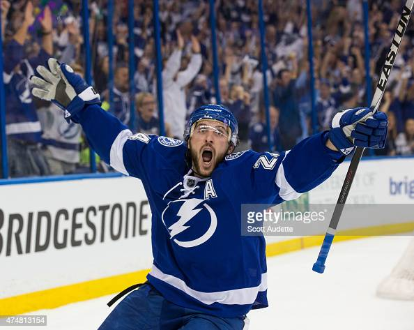 Ryan Callahan of the Tampa Bay Lightning celebrates his goal against the New York Rangers during the first period in Game Six of the Eastern...