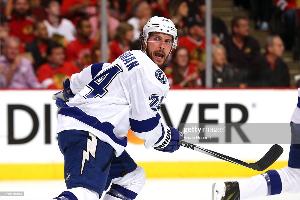 <a gi-track='captionPersonalityLinkClicked' href=/galleries/search?phrase=Ryan+Callahan&family=editorial&specificpeople=809690 ng-click='$event.stopPropagation()'>Ryan Callahan</a> #24 of the Tampa Bay Lightning reacts against the Chicago Blackhawks during Game Four of the 2015 NHL Stanley Cup Final at the United Center on June 10, 2015 in Chicago, Illinois.