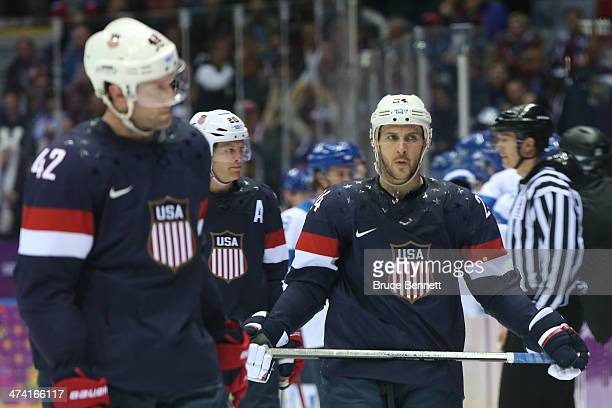 Ryan Callahan of the United States skates in the second period against Finland during the Men's Ice Hockey Bronze Medal Game on Day 15 of the 2014...