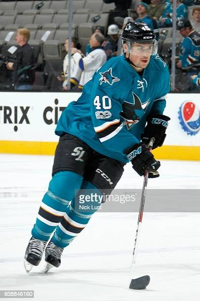 Ryan Carpenter of the San Jose Sharks skates during warm ups prior to a NHL game against the St Louis Blues at SAP Center at San Jose on January 14...